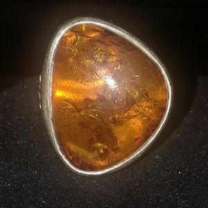 Triangle Amber Ring